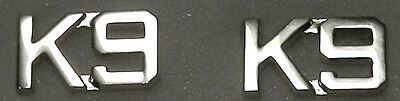 "K-9 Silver 3/8"" Letters Pair Collar Pins Rank Insignia police/sheriff canine K9"