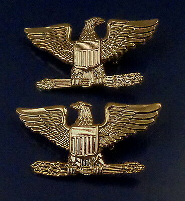 "COL Colonel Eagle ""Birds"" Large Gold Pair Collar Pins Rank Insignia SAFETY CATCH"