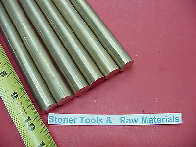 """6 Pieces 3/8"""" C360 BRASS SOLID ROUND ROD 10"""" long New Lathe Bar Stock .375"""""""