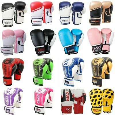New Grain Leather Boxing Gloves Punch Bag Mitt Fight Training Muay Thai Pad MMA