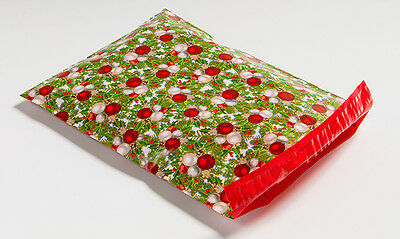 200 10x13 Green & Red Christmas Designer Poly Mailers Shipping Envelopes Bags