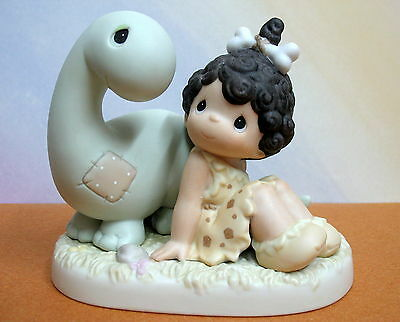 PRECIOUS MOMENTS Friends From The Very Beginning ~ CAVEGIRL w/ DINOSAUR # 261068