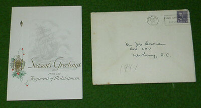 WW2 1941 US Naval Academy Midshipman Christmas Card Collectors MUST L@@K