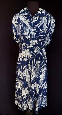 Very Rare Vintage 1940's Wwii Era Blue&white  Floral Silky Rayon Dress Size 14