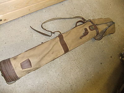 Golf bag canvas & leather brass zips 1930's lovley used condition minor scuffs