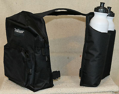 BLACK Trail Saddle INSULATED Horn Bag with 2 water bottles and 2 compartments