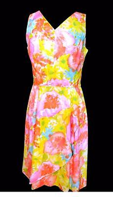 Rare Classic French Vintage 1960's Colorful Pastel Floral Chiffon Dress Size 8
