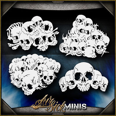 Mini Skull Background Set 3 -  Airbrush Stencil Template Airsick