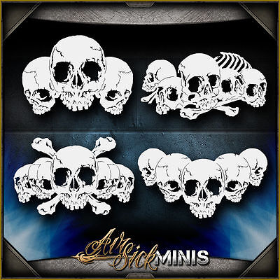 Mini Skull Background Set 4 -  Airbrush Stencil Template Airsick