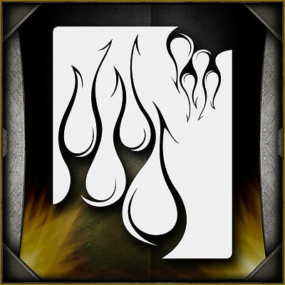 """Tribal Flames 3"" Airbrush Stencil Template Airsick"