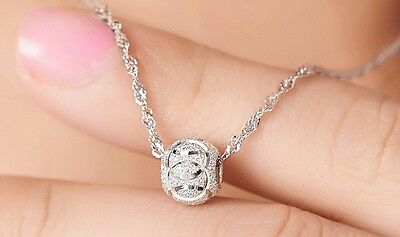 Women Beautiful 8mm 925 Sterling Silver Luck Bead Chain Necklace Pendant