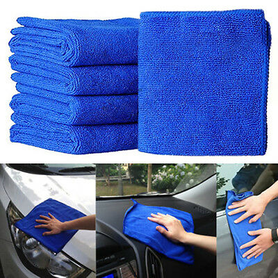 5Pcs Blue Soft Absorbent Wash Cloth Car Auto Care Microfiber Cleaning Towels