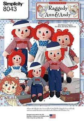 """Simplicity Sewing Pattern Raggedy Ann & Andy 15"""" 26"""" 36"""" Dolls & Clothes 8043"""