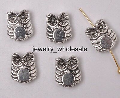 30pcs Tibetan Silver Double Sided Owl Spacer Beads 10x8MM Jewelry D3184