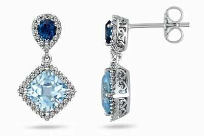 Blue Topaz & Sapphire Drop Earrings 18ct Gold on 925 Silver Boxed Gift For Her