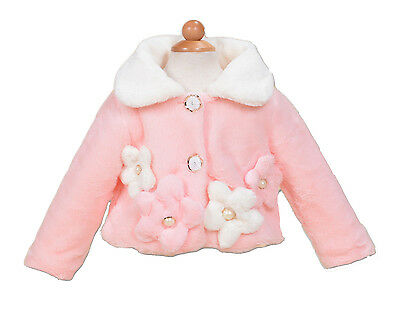 New Girls Pink and Ivory Faux Fur Long Sleeves Coat Bolero 5-6 Years