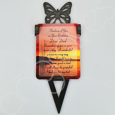 Dad Birthday Memorial Remembrance Verse With Grave Butterfly Ground Stake (Sea)