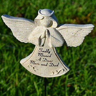 Sadly Missed Mum & Dad Guardian Angel Memorial Tribute Stick Graveside Plaque
