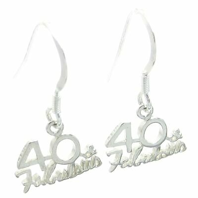 40 and Fabulous sterling silver earrings .925 x 1 pair Fortieth DKC53909--HOOKS