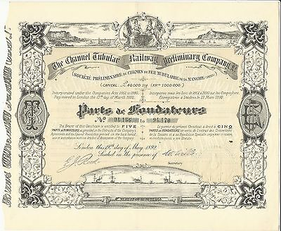 Channel Tubular Railway Preliminary Company Ltd.  Stock Certificate, 1892