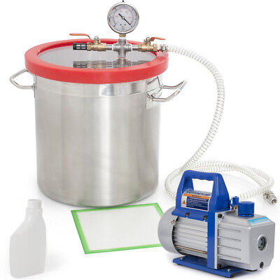 4CFM 1/3HP Vacuum Pump with 5 Gal Vacuum Chamber Silicone Degassing Expoxy Set