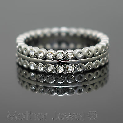 Simulated Diamond Wedding Eternity Anniversary Band Sterling Silver Plated Ring