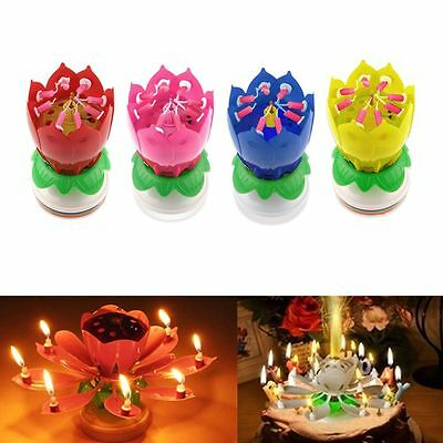 Musical Rotating Lotus Flower Cake Topper Party Birthday Candle Light Lamp Gift