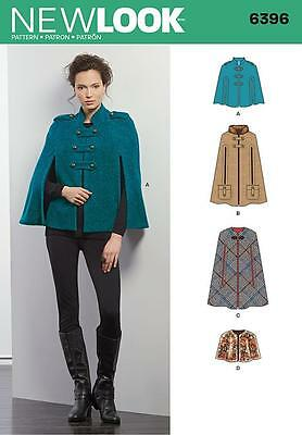 NEW LOOK SEWING PATTERN Misses' Capes and Capelets SIZES XS - XL   6396
