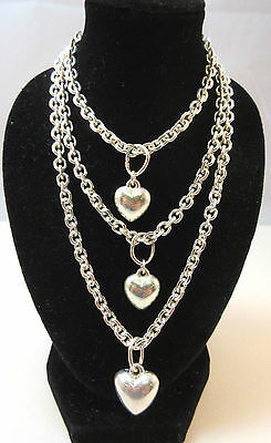 """Silver Tone Lot Of 3 Chain Necklaces W/ Puffy Small Heart Pendants Approx 24"""" **"""
