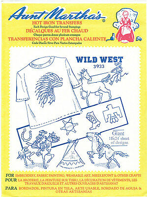Wild West Cowboys Indians Retired Aunt Martha's Hot Iron Embroidery Transfer