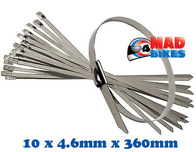 10 X Stainless Steel Cable Ties / Zip Straps For Motorcycle Exhaust Repairs Etc