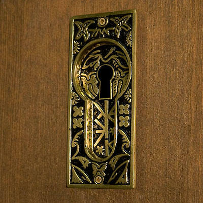 Butterfly Recessed Pocket Door Flush Pull with Keyhole Blackened Brass