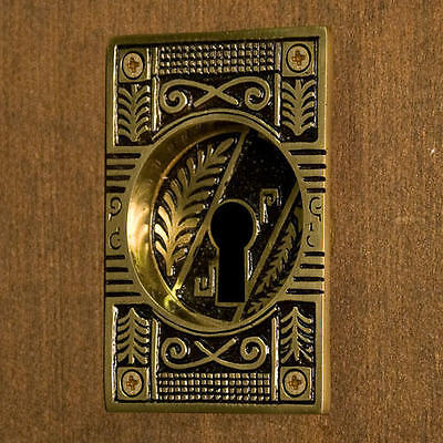 Oriental Leaf Recessed Pocket Door Flush Pull with Keyhole Blackened Brass