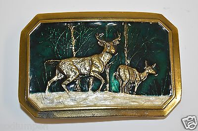 WOW 1976 Vintage Colorful Green DEER in Snow Hunter Brass Tone Belt Buckle Rare