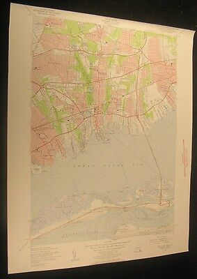 Bay Shore West Suffolk New York Fire Island 1956 antique color lithograph map