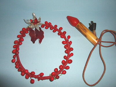 "2~1940s BERRY & POINSETTIA 7"" WREATH & LIGHTED PAPER Christmas BULB CANDLE~RARE!"