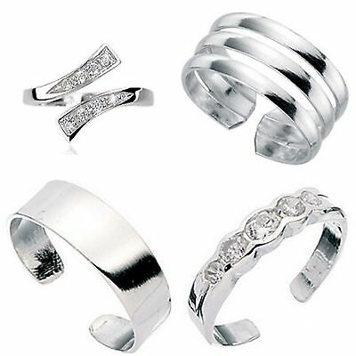 Set Of 4 Solid  Sterling Silver Toe Rings Top Designs  Not Plated Comes Boxed