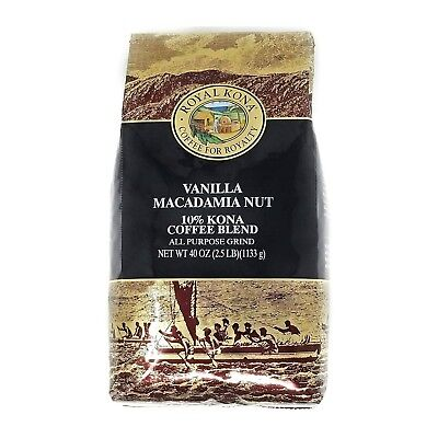 Royal Kona Coffee Vanilla Mac Nut 10% Kona Coffee Ground 2.5 Pound Bag FREE SHIP