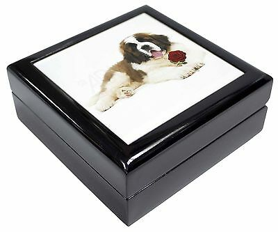 St. Bernard Dod with Red Rose Keepsake/Jewellery Box Christmas Gift, AD-SBE5RJB
