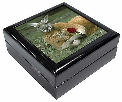 Kangaroo with Red Rose Keepsake/Jewellery Box Christmas Gift, AK-1RJB