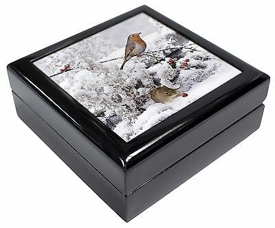 Snow Mouse and Robin Print Picture Jewellery Box Christmas Gift, AMO-5JB