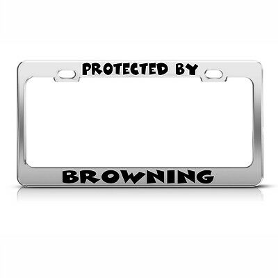Metal License Plate Frame Protected by Browning Car Accessories Chrome
