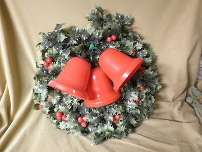 """Vintage 20"""" Christmas Wreath  3 Lighting Bells with Greens and Holly Berries"""