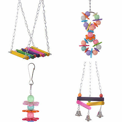 Bird Parrot Parakeet Hanging Colorful Budgie Cockatiel Cage Hammock Swing Toys