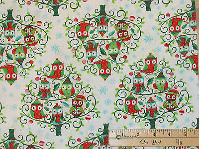 """Owl Be Home for Christmas Stripe SPX Christmas Fabric 23/"""" Repeat  #25583"""