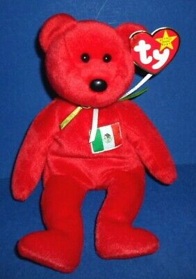 """TY BEANIE BABY Soft RED~MEXICO FLAG BEAR~""""OSITO""""Bean Bag~1999 w/TAG~ADORABLE!"""