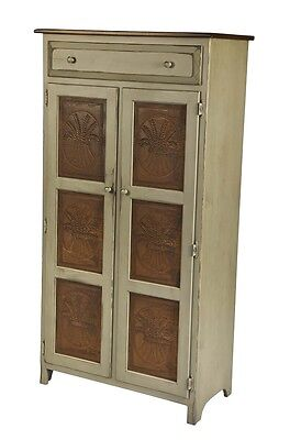 Amish Handmade LARGE 5' PIE SAFE HUTCH with PUNCHED TIN PANELS in Antique Stain