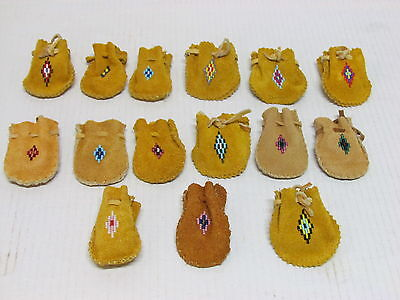 Native American Beaded Hide Medicine Bags - Multiple Colors Available