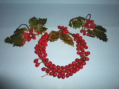 "3~1940s BERRY & HOLLY 6"" WREATH & 2 Christmas BERRIES Hanging ORNAMENTS~RARE!"