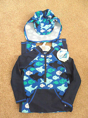 M&S Blue Fish Sun Safe  All in One Swimsuit With Hat 9-12 18-24 months 2-3yrs